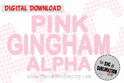 baby pink gingham plaid print letters font alphabet for sublimation printing