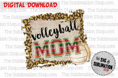 Volleyball  mom frame cheetah and serape sublimation design for print and cut or dtg printing