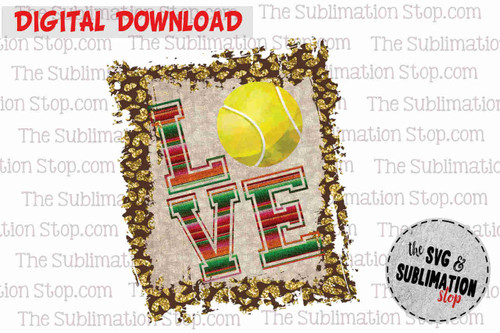 Love Tennis Frame cheetah and serape sublimation design for print and cut or dtg printing