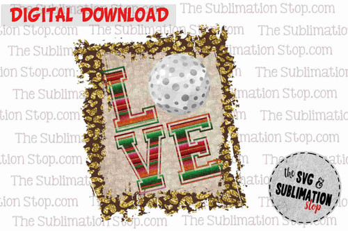 Love Golf Frame cheetah and serape sublimation design for print and cut or dtg printing