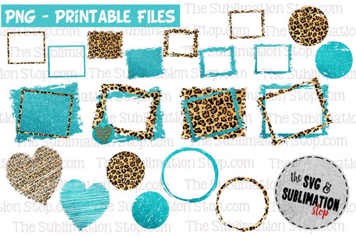 Teal glitter and cheetah animal print background backsplash wallpaper designs for sublimation printing and graphic design