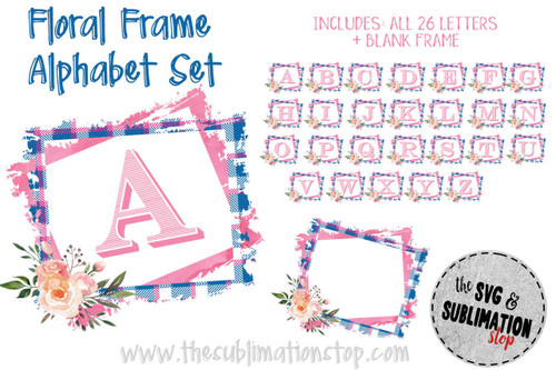 pink blue plaid floral frame alphabet set sublimation printable print and cut