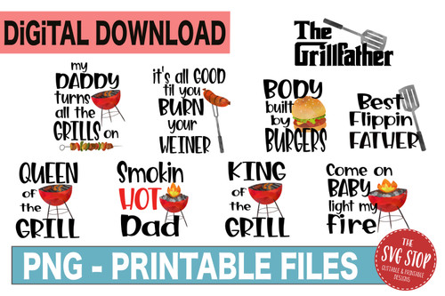 BBQ Grill Fathers Day Clipart Sublimation Design bundle clipart water color