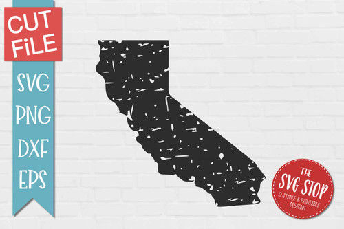 distressed grunge California state silhouette Cricut sublimation printing