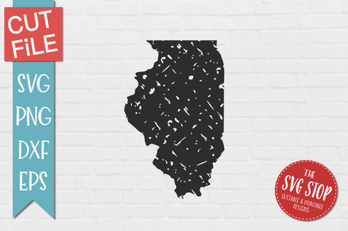 distressed grunge Illinois state silhouette Cricut sublimation printing
