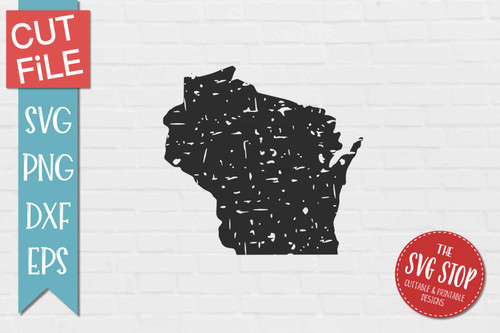 distressed grunge Wisconsin state silhouette Cricut sublimation printing