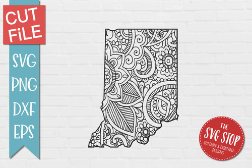 zentangle style Indiana svg cut file silhouette Cricut sublimation printing