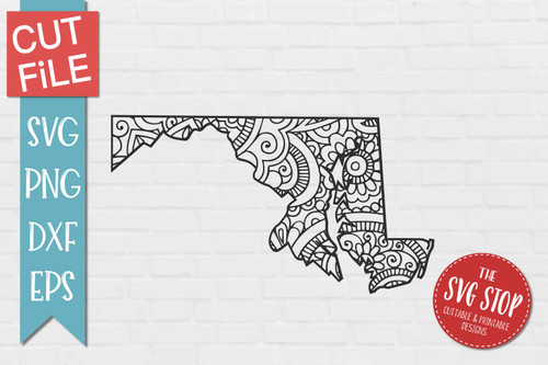 zentangle style Maryland svg cut file silhouette Cricut sublimation printing