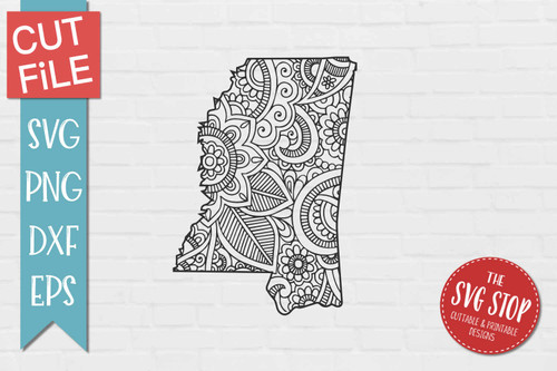 zentangle style Mississippi svg cut file silhouette Cricut sublimation printing
