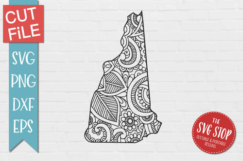 zentangle style New Hampshire svg cut file silhouette Cricut sublimation printing