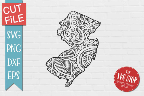 zentangle style New Jersey svg cut file silhouette Cricut sublimation printing