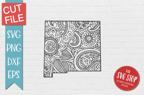 zentangle style New Mexico svg cut file silhouette Cricut sublimation printing