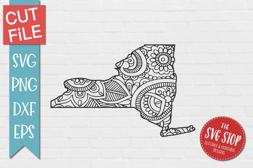 zentangle style New York svg cut file silhouette Cricut sublimation printing