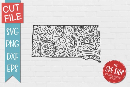 zentangle style South Dakota svg cut file silhouette Cricut sublimation printing