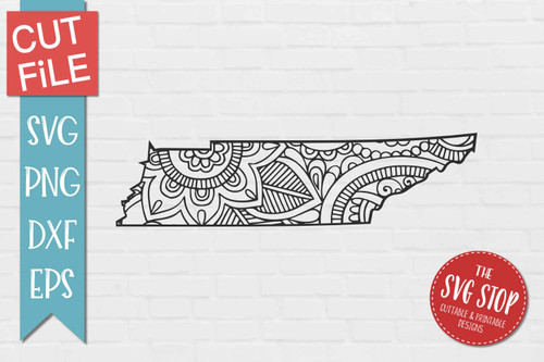 zentangle style Tennessee svg cut file silhouette Cricut sublimation printing