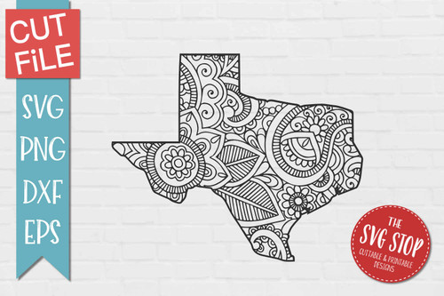 zentangle style Texas svg cut file silhouette Cricut sublimation printing