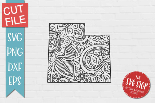 zentangle style Utah svg cut file silhouette Cricut sublimation printing