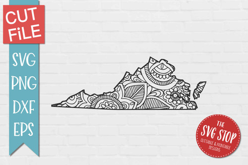 zentangle style Virginia svg cut file silhouette Cricut sublimation printing