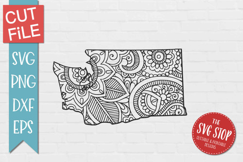 zentangle style Washington svg cut file silhouette Cricut sublimation printing