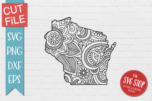 zentangle style Wisconsin svg cut file silhouette Cricut sublimation printing