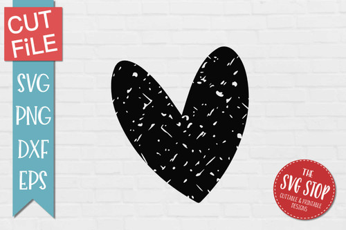 Heart Distressed Grunge Style svg cut file clipart sublimation design