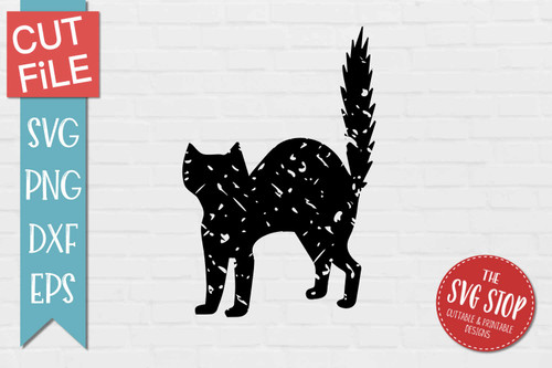 Black Cat Distressed Grunge Style svg cut file clipart sublimation design
