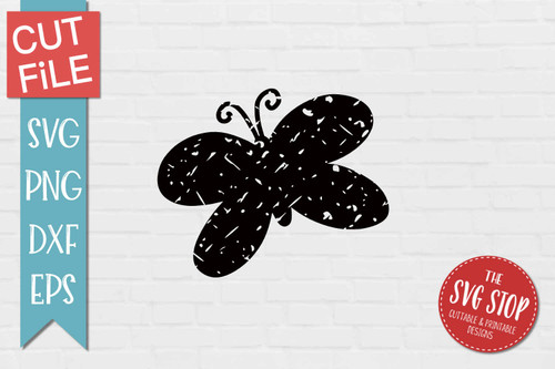 Butterfly Distressed Grunge Style svg cut file clipart sublimation design