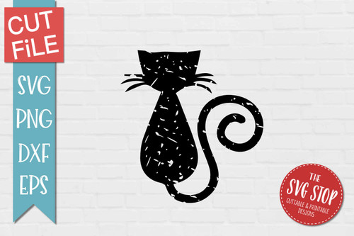 Cat Distressed Grunge Style svg cut file clipart sublimation design