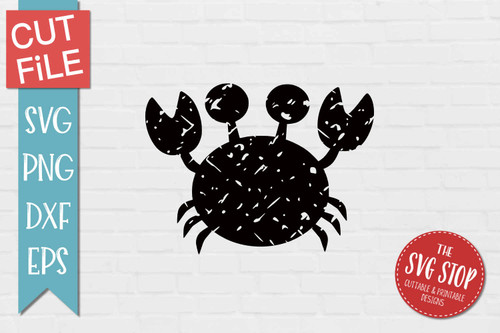 Crab Distressed Grunge Style svg cut file clipart sublimation design