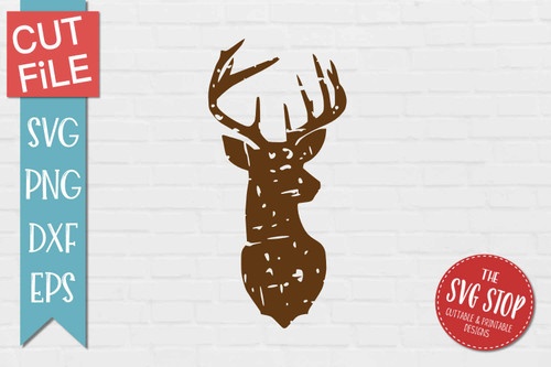 Deer Distressed Grunge Style svg cut file clipart sublimation design
