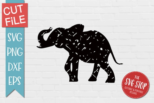 Elephant Distressed Grunge Style svg cut file clipart sublimation design