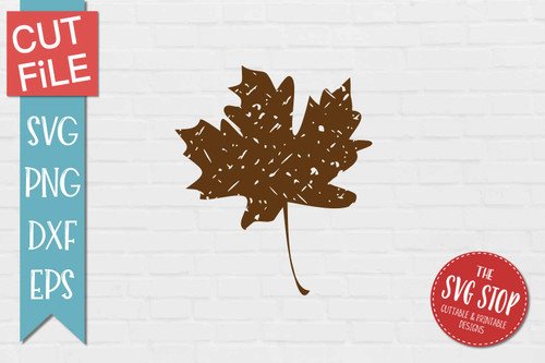 Fall Leaf Distressed Grunge Style svg cut file clipart sublimation design