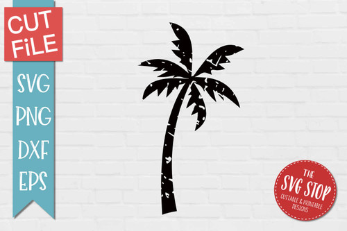 Palm Tree Distressed Grunge Style svg cut file clipart sublimation design