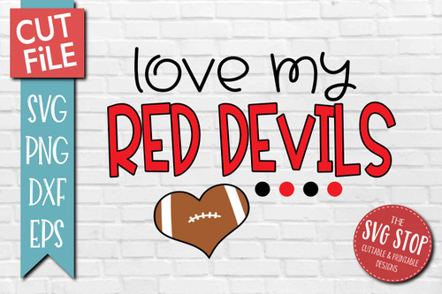 Red Devils football mascot svg cut file silhouette Cricut sublimation printing