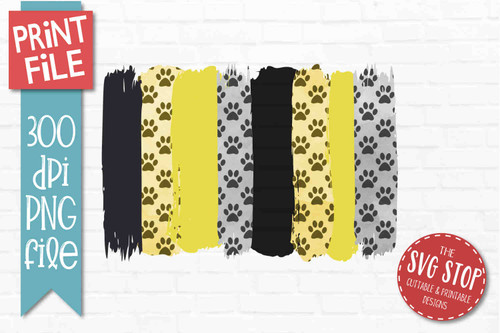 Black and Yellow Paw Prints team colors paint stroke stripes background sublimation svg png clipart design