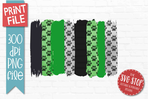 Green and Black Paw Prints team colors paint stroke stripes background sublimation svg png clipart design