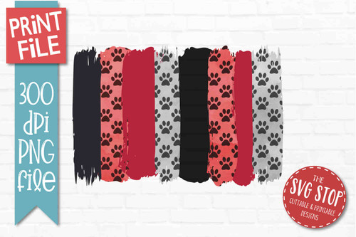 Black and Red Paw Prints team colors paint stroke stripes background sublimation svg png clipart design