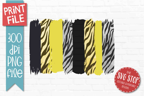 Black and Yellow Tiger Print team colors paint stroke stripes background sublimation svg png clipart design