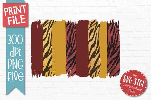 Maroon and Gold Tiger Print team colors paint stroke stripes background sublimation svg png clipart design