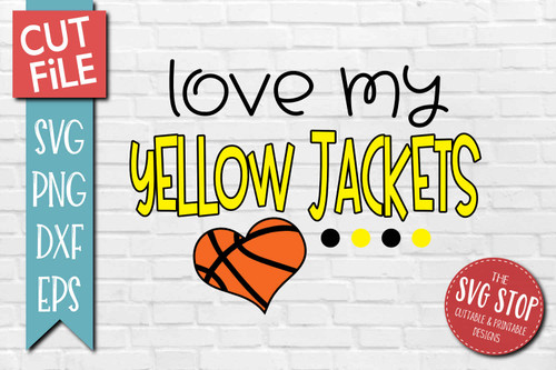Yellow Jackets basketball mascot svg cut file silhouette Cricut sublimation printing