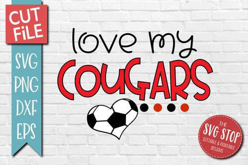 Cougars Soccer football mascot svg cut file silhouette Cricut sublimation printing