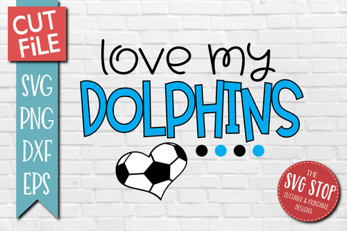 Dolphins Soccer football mascot svg cut file silhouette Cricut sublimation printing