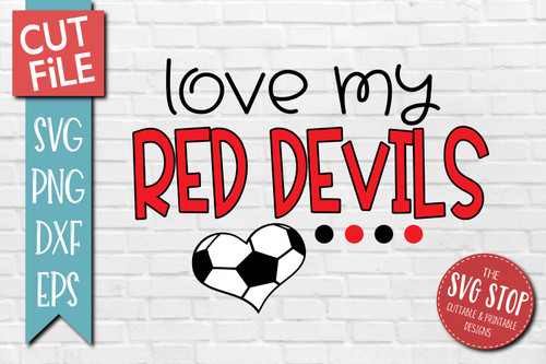 Red Devils Soccer football mascot svg cut file silhouette Cricut sublimation printing