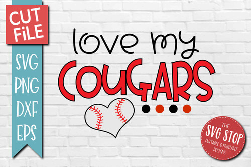 Cougars Baseball  mascot svg cut file silhouette Cricut sublimation printing