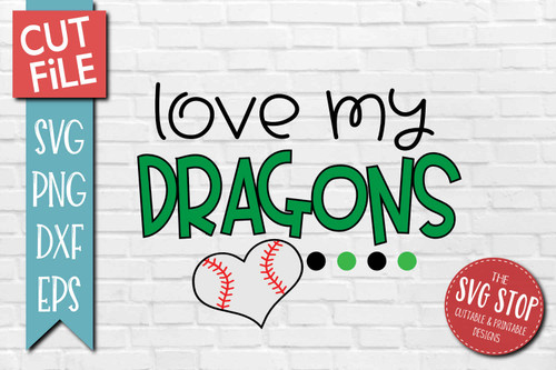 Dragons Baseball  mascot svg cut file silhouette Cricut sublimation printing