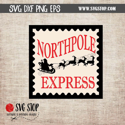 northpole express stamp clipart cut file svg