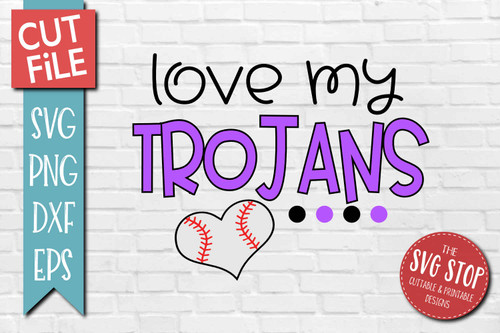 Trojans Baseball  mascot svg cut file silhouette Cricut sublimation printing
