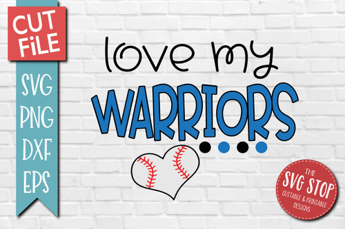 Warriors Baseball  mascot svg cut file silhouette Cricut sublimation printing