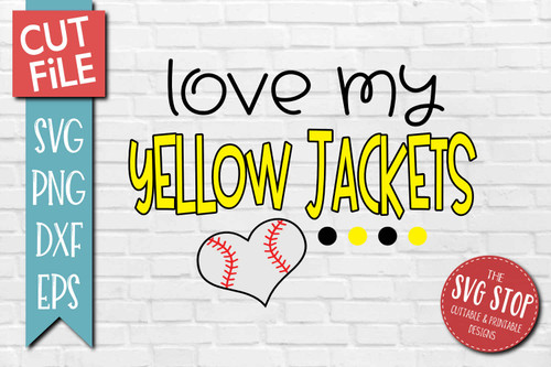 Yellow Jackets Baseball  mascot svg cut file silhouette Cricut sublimation printing
