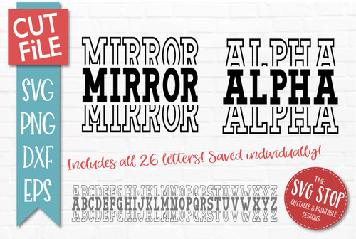 stacked font mirrored varsity alphabet for sports team designs